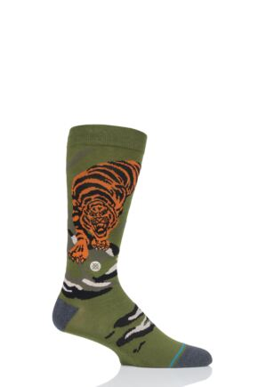 Mens and Ladies 1 Pair Stance Big Cat Crew Cotton Socks Green 5.5-8 Mens