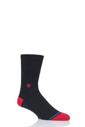 Mens 1 Pair Stance Icon Heavy Cotton Socks Black 8.5-11.5 Mens