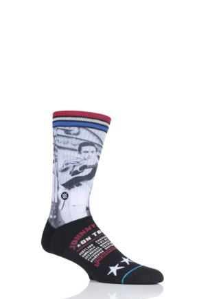 Mens 1 Pair Stance Johnny Cash on Tour Cotton Blend Socks