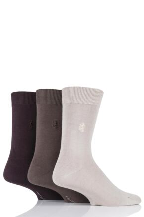 Mens 3 Pair Pringle of Scotland Classic Bamboo Plain Socks Beige