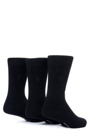 Mens 3 Pair Pringle of Scotland Classic Bamboo Plain Socks Black
