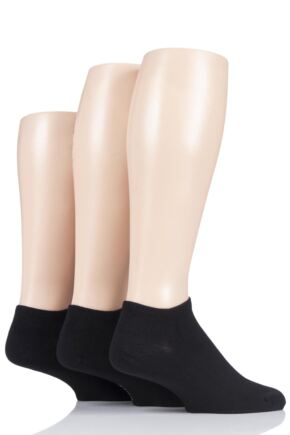 Mens 3 Pair Pringle Black Label Bamboo Trainer Socks Black 7-11 Mens