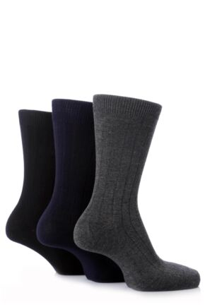 Mens 3 Pair Pringle Of Scotland Classic Bamboo Rib Socks 25% OFF This Style