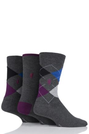 Mens 3 Pair Pringle Classic Bamboo Argyle Socks