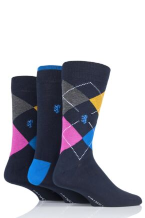 Mens 3 Pair Pringle Black Label Argyle Bamboo Socks Navy 7-11 Mens