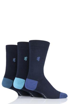 Mens 3 Pair Pringle Black Label Contrast Heel and Toe Bamboo Socks