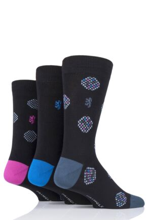 Mens 3 Pair Pringle Black Label Large Dots Bamboo Socks