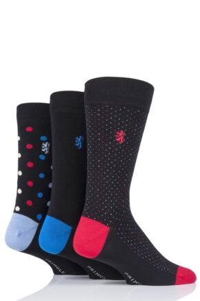 Mens 3 Pair Pringle Black Label Spots and Dots Bamboo Socks