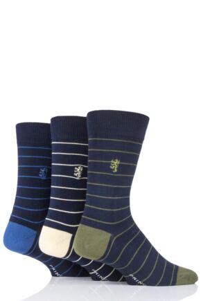 Mens 3 Pair Pringle of Scotland Fine Stripe Bamboo Socks Navy 7-11 Mens