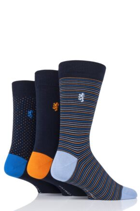 Mens 3 Pair Pringle Black Label Fine Stripe and Dots Bamboo Socks