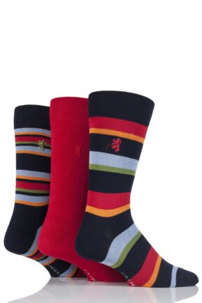 Mens 3 Pair Pringle Black Label Varied Stripe Socks