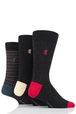 Mens 3 Pair Pringle Black Label Dots and Stripe Bamboo Socks
