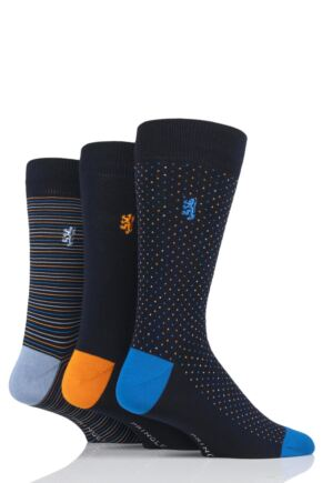 Mens 3 Pair Pringle Black Label Dots and Stripe Bamboo Socks
