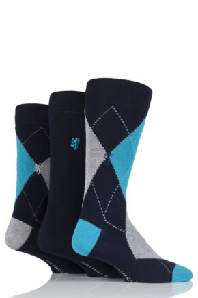 Mens 3 Pair Pringle Black Label Large Argyle Socks