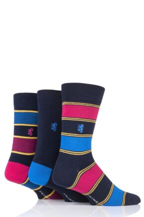 Mens 3 Pair Pringle of Scotland Broad and Fine Stripe and Plain Bamboo Socks