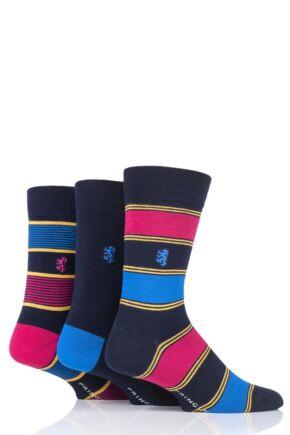 Mens 3 Pair Pringle of Scotland Broad and Fine Stripe and Plain Bamboo Socks
