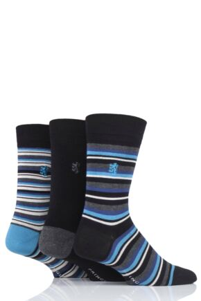 Mens 3 Pair Pringle Black Label Fine Stripe Bamboo Socks