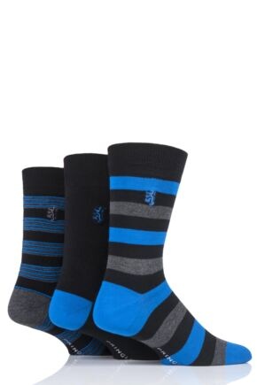 Mens 3 Pair Pringle Black Label Multi Stripe Bamboo Socks
