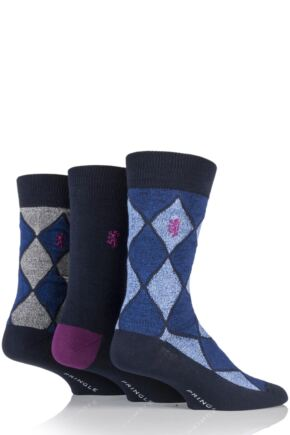 Mens 3 Pair Pringle Black Label Plain and Argyle Bamboo Socks