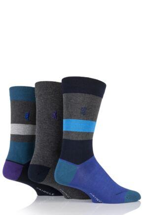 Mens 3 Pair Pringle Black Label Block Stripe and Plain Bamboo Socks