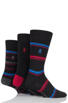 Mens 3 Pair Pringle of Scotland Plain and Stripe Bamboo Socks Black 7-11 Mens
