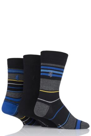 Mens 3 Pair Pringle Black Label Fine Stripe Socks Black 7-11