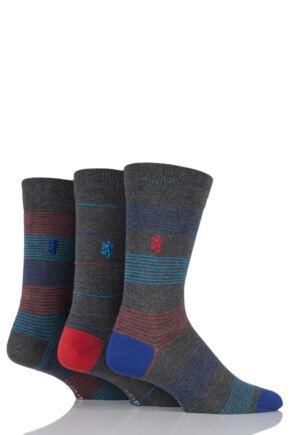 Mens 3 Pair Pringle of Scotland Narrow Striped Bamboo Socks