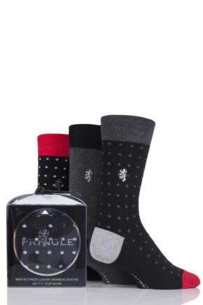 Mens 3 Pair Pringle Black Label Micro Dots and Plain Socks In Gift Box