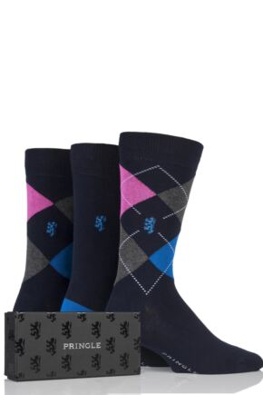 Mens 3 Pair Pringle of Scotland Aryle and Plain Bamboo Socks In Gift Box Navy 7-11 Mens