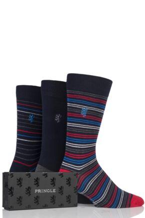 Mens 3 Pair Pringle of Scotland Fine Stripe and Plain Navy Bamboo Socks In Gift Box