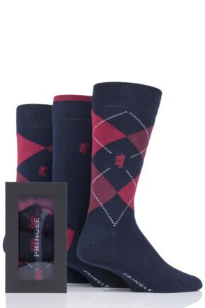 Mens 3 Pair Pringle of Scotland Gift Boxed Argyle and Plain Bamboo Socks