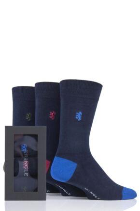 Mens 3 Pair Pringle of Scotland Gift Boxed Contrast Heel and Toe Bamboo Socks Navy 7-11 Mens