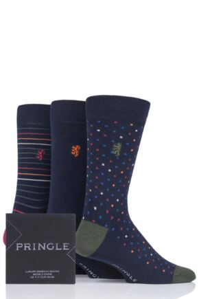 Mens 3 Pair Pringle of Scotland Gift Boxed Stripes Spots and Plain Bamboo Socks
