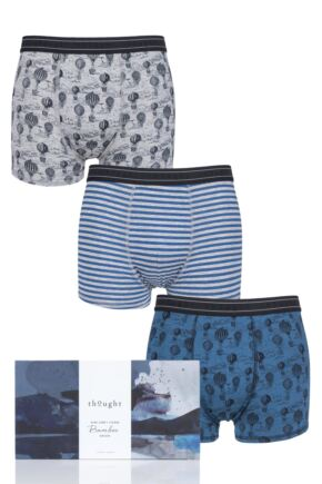 Mens 3 Pack Thought High in the Sky Bamboo Boxers Gift Box