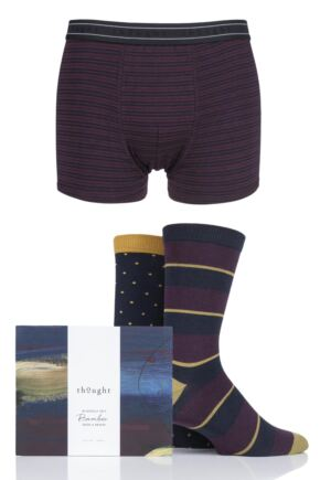 Mens 3 Pack Thought Bamboo Boxers and Socks Gift Set