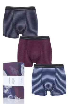 Mens 3 Pack Thought Striped Bamboo and Organic Cotton Boxer Shorts in Gift Box