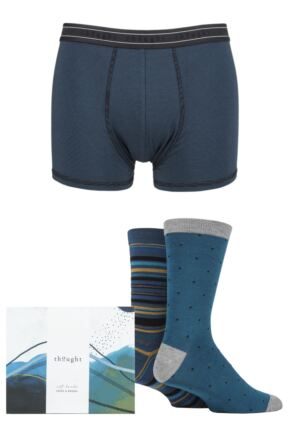Mens Thought Bamboo and Organic Cotton Socks and Boxer Shorts Gift Box