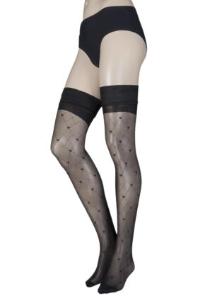 Ladies 1 Pair Trasparenze Malle Backseam Heart Net Hold Ups