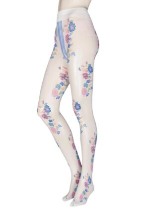 Ladies 1 Pair Trasparenze Mandarino Floral Tights