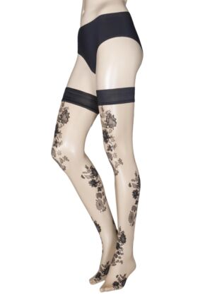 Ladies 1 Pair Trasparenze Mandarino Floral Hold Ups
