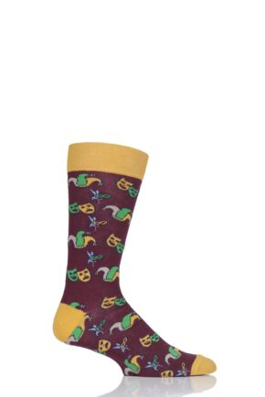 Mens 1 Pair Moustard Mardi Gras Cotton Socks Red 7.5-11.5