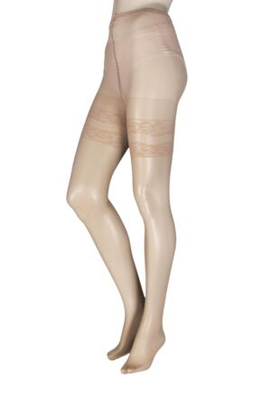 Ladies 1 Pair Trasparenze Curvy Margherita Sheer Mock Hold Up Tights
