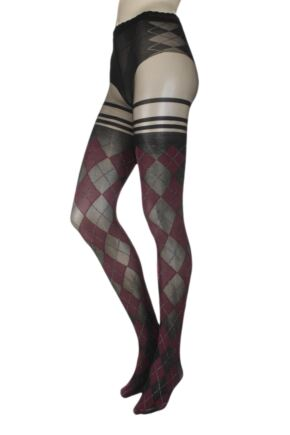 Ladies 1 Pair Trasparenze Menfi Large Argyle Mock Hold Up Tights