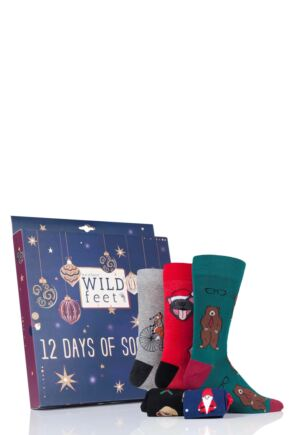 Mens 12 Pair SockShop Wild Feet 12 Days of Sock-Mas Christmas Advent Calendar Socks