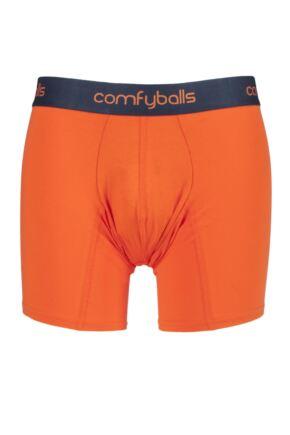 Mens 1 Pair Comfyballs Longer Leg Cotton Boxer Shorts Orange Small