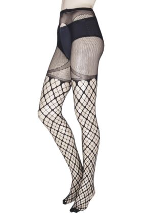 Ladies 1 Pair Trasparenze Merlot Large Net Strip Panty Tights