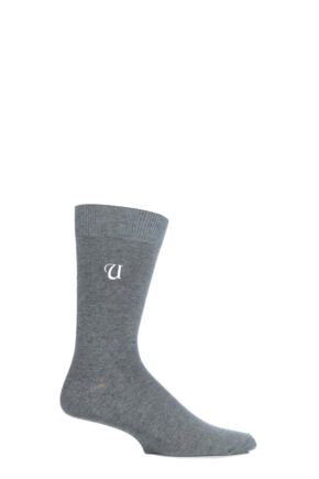 Mens 1 Pair SockShop New Individual Embroidered Initial Socks - U-Z U Light Grey 7-11 Mens