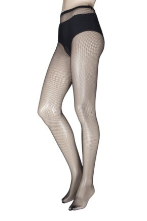 Ladies 1 Pair Miss Naughty Fishnet Crotchless Tights - Up to XXXL