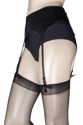 Ladies 1 Pack Miss Naughty Wet Look Suspender Belt - Up to XXXL