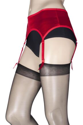 Ladies 1 Pack Miss Naughty Wet Look Suspender Belt - Up to XXXL
